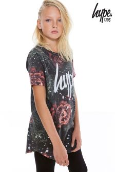 Hype Black Vintage Rose Speckle T-Shirt