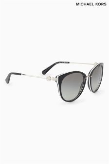 Michael Kors Black Abela III Slim Arm Logo Cat Eye Sunglasses