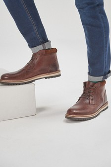 Leather Cleated Sole Boot