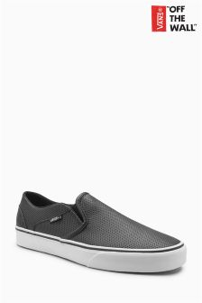 Vans Black Leather Asher Slip On