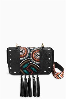 Leather Beaded Across Body Bag