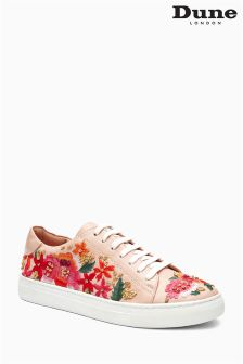 Dune Eternal Nude Embroidered Floral Sneaker