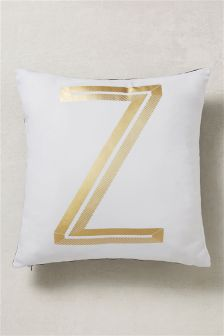 Gold Foil Alphabet Cushion