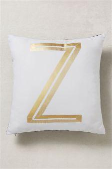 Gold Foil Alphabet Cushion