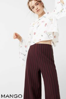 Mango White Floral Flared Sleeve Blouse