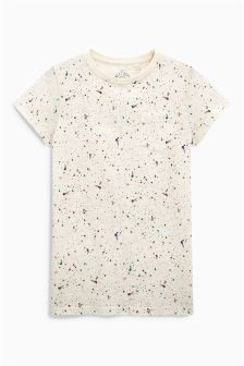 Ecru All Over Print Paint Splat T-Shirt (3-16yrs)