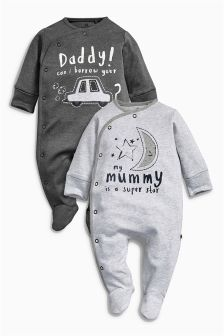 Mum And Dad Sleepsuits Two Pack (0mths-2yrs)