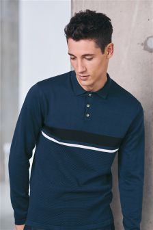 Textured Chest Stripe Long Sleeve Polo