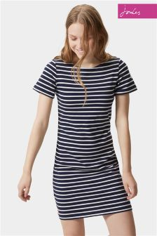 Joules Riviera French Navy Stripe Jersey T-Shirt Dress