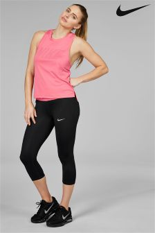 Nike Black And Coral Power Essential Capri