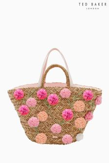 Ted Baker Straw Pink Pom Pom Shopper Bag