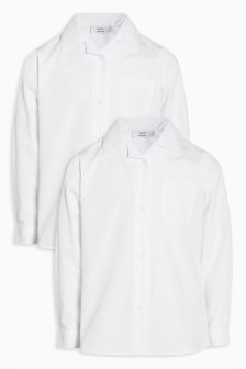 Long Sleeve Revere Collar Shirt Two Pack (3-16yrs)