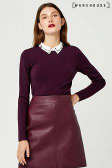 Warehouse Berry Marl Embellished Collar Jumper
