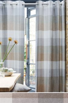 Natural Block Check Eyelet Curtains Studio Collection By Next