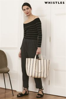 Whistles Black Fine Stripe Bardot Knit