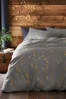 Gold Metallic Stars Bed Set