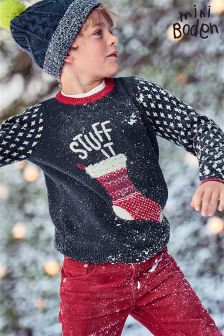Boden Navy Stuff It Christmas Jumper