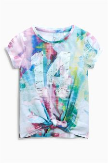 Print Tie Front T-Shirt (3-16yrs)