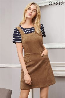 Oasis Tan Suedette Pinafore Dress