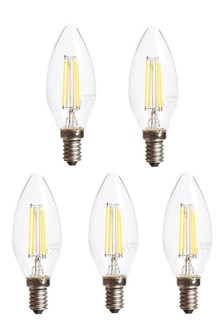 5 Pack 4W LED Filament SES Candle Bulb