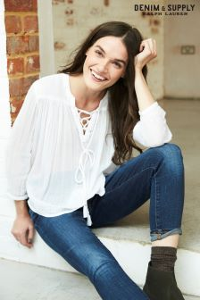 Ralph Lauren Denim & Supply White Lace-Up Blouse