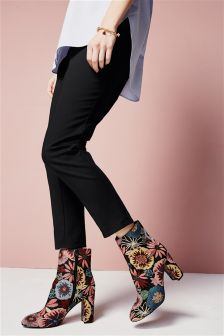 High Waist Cotton Skinny Trousers