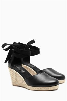 Leather Two Part Espadrille Wedges