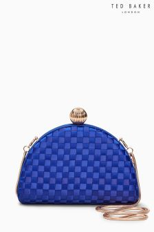 Ted Baker Blue Crescent Weave Occasion Clutch