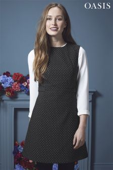 Oasis Black Spot Pinafore Dress