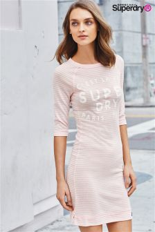 Superdry Blush Pink Stripe Harbour Slouch Crew Dress