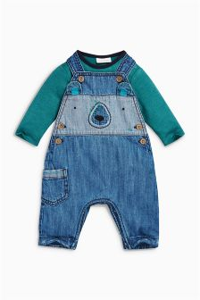 Denim Bear Dungarees (0mths-2yrs)