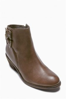 Buckle Western Ankle Boots