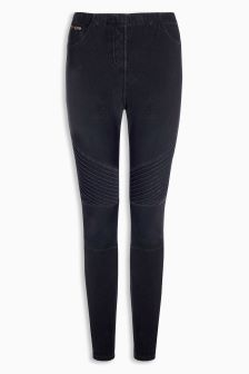 Biker Detail Denim Leggings