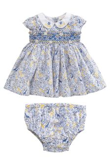 Printed Smock Dress And Knickers (0mths-2yrs)