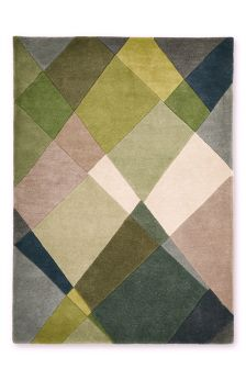 Green Abstract Diamond Wool Rug