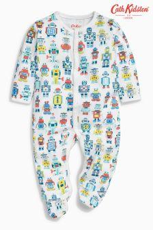 Cath Kidston Cream Robots Baby Sleepsuit