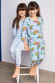 Floral And Stripe Pyjamas Two Pack (3-16yrs)