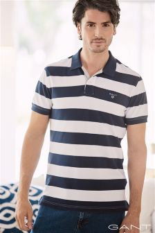 Gant Navy/White Bar Stripe Poloshirt