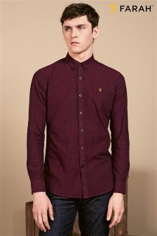 Farah Burgundy Slim Fit Oxford Shirt