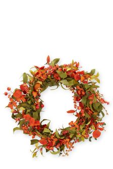 Orange Berry And Flower Wreath
