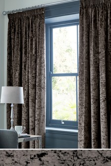 Crushed Velvet Multi Header Lined Curtains
