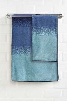Blue And Green Ombre Velour Towel