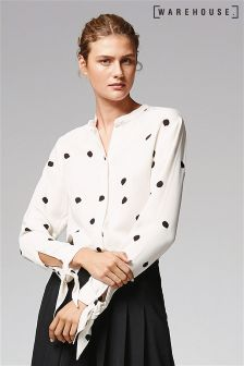 Warehouse Cream Dotty Spot Tie Wrist Blouse