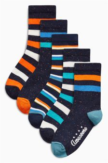 Navy Stripe Socks Five Pack (Older Boys)