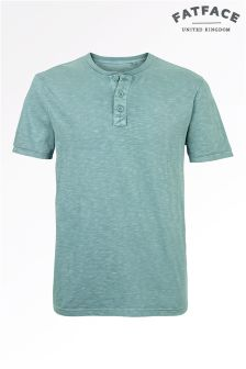 Fat Face Tresco Blue Organic Slub Henley