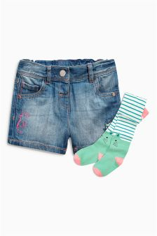 Character Denim Shorts With Tights (3mths-6yrs)