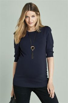 Maternity Ruched Sleeve Knit