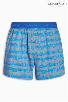 Calvin Klein Blue Echo Logo Woven Boxer