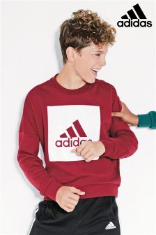 adidas Burgundy Essential Logo Crew Neck Jumper