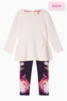 Baker by Ted Baker Pink Quilted Top And Legging Set